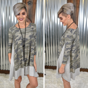 Camo 3/4 Sleeve Dress