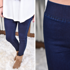 L & B Navy Blue High Waisted Jeggings