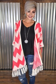 *FINAL SALE* Pink Chevron Oversized Shawl