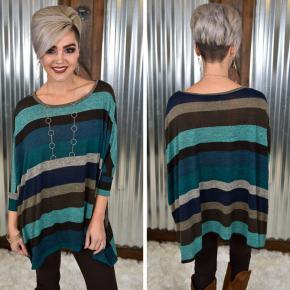 3/4 Multi Stripe Sweater Top