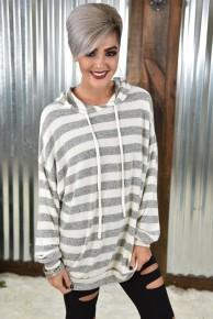 Heather Grey Striped Knit Hoodie