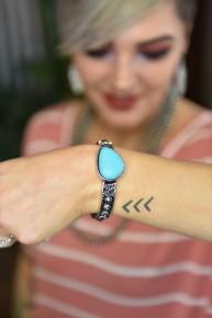 Silver & Turquoise Stone Stretch Bracelet