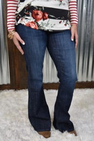 Kan Can Dark Wash Mid Rise Flare Jeans