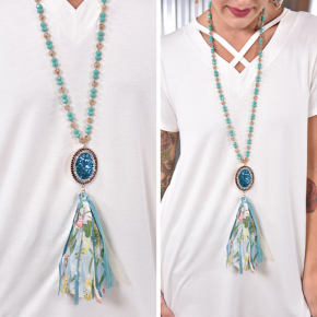 Turquoise Bling Fabric Tassel Necklace