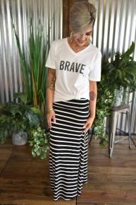 Black Striped Maxi Skirt