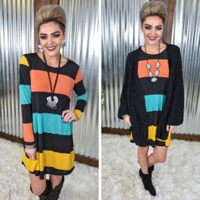 Black & Mustard Striped Dress
