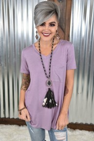 Dusty Lavender V Neck Pocket Top