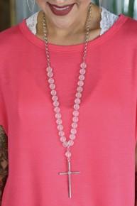 Matte Glass Bead Cross Necklace