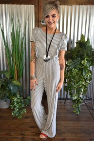 Front Ruffle Striped Jumpsuit