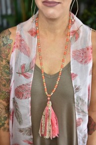 Coral & Gold Tassel Necklace