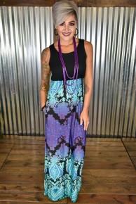 Black & Aqua Damask Maxi Dress