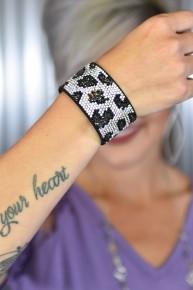 Silver Leopard Rhinestone Snap Bracelet