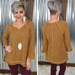 Mustard Dotted V Neck Sweater