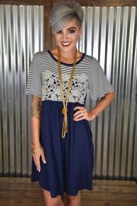 Navy Stripes & Crochet Dress
