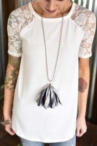 Shades of Grey Tassel Necklace