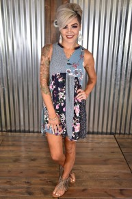 Navy Sleeveless Mixed Print Babydoll Dress