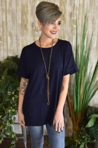 Navy Rolled Sleeve Top