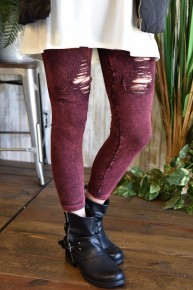 Burgundy Vintage Destroyed Jeggings