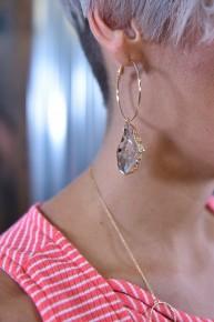 Brown Geode Hoop Earrings