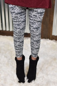Grey & White Printed Yoga Leggings