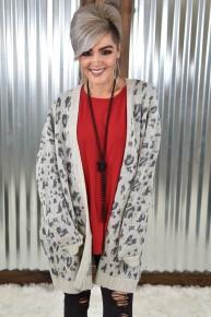 Heather Grey Leopard Cardigan