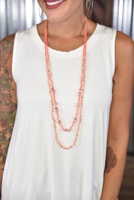 Coral Layered Beaded Necklace