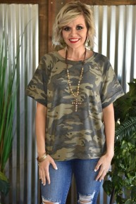 Olive Casual Camo Top