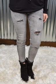 L & B Grey Distressed Skinny Jeans