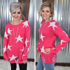 Hot Pink Stars Sweater *Final Sale*