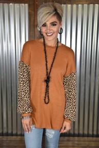 Bronze Leopard Puff Sleeve Top