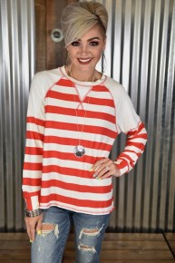 CLEARANCE Red L/S Striped Top