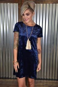 CLEARANCE Navy Velvet V Back Dress
