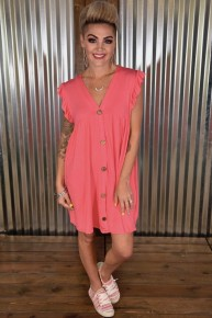 CLEARANCE Coral Faux Button Dress