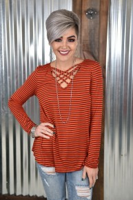 Rust Striped Lattice Top