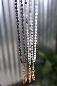 Natural Stone Beaded Lanyard Necklace