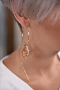 Orange Geode Hoop Earrings