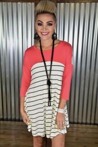 Coral Dolman Sleeve  Dress