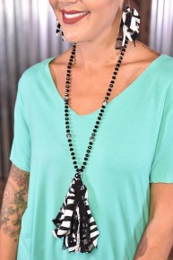 Between the Stripes Tassel Necklace