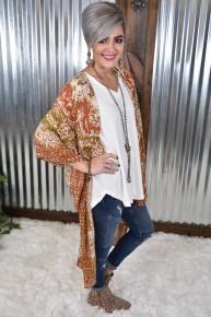 Rust Boho Mandala Kimono