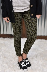 Royalty Olive & Black Leopard Ankle Jeans