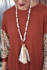 Ivory Stone Tassel Necklace