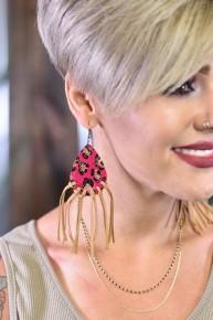 Fuchsia Let's Be Fringe Leopard Earrings