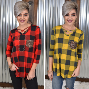 Buffalo Plaid Sequin Criss Cross Top