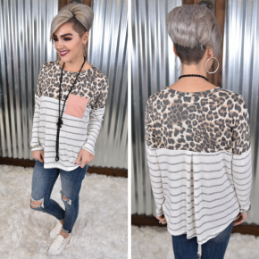 Animal & Striped Top with Pocket