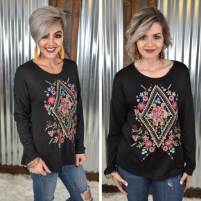 Black Embroidered Knit Top *Final Sale*