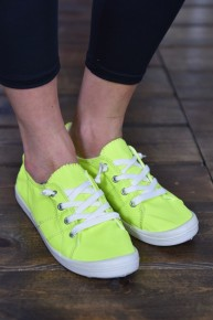 CLEARANCE Neon Yellow Canvas Sneakers