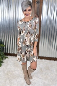 Grey Floral Dress with Pockets
