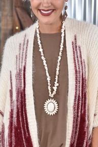 Cream Stone Medallion Necklace