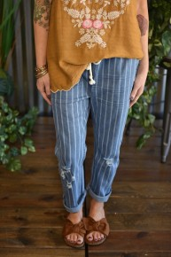 Pinstriped Drawstring Jeans