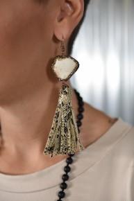White Rock the Look Snakeskin Earrings